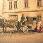a cart and a family